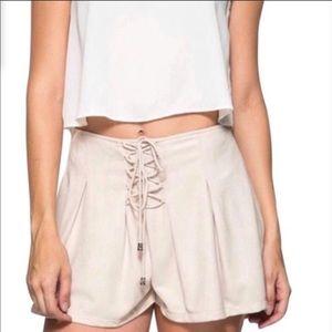 Cream colored Tie Front Velvet Shorts